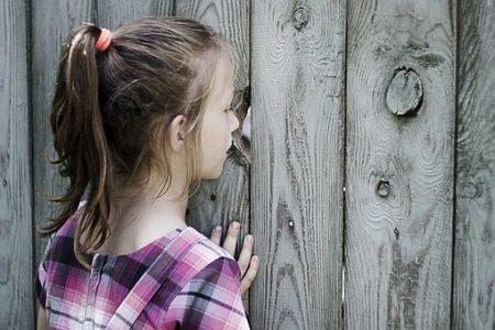 Enfant regarde à traver une palissade